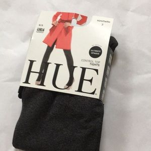 Size 3 HUE control top tights GRAPHITE HEATHER NEW